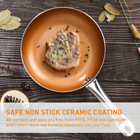 """9.5""""  Copper Ceramic Frying Pan Non Stick Coating Grill Pan Frying Pan with Lid"""