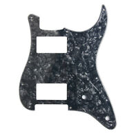 Guitar Pickguard for Fender Stratocaster Strat HH 2 Humbucker 3 Ply Black Pearl