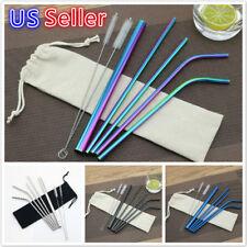 4/7 Pcs Stainless Steel Drinking Straws Metal Reusable Straw for Yeti Tumbler