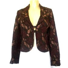 Karen Millen Blazer Jacket Textured Floral Rose Burgundy Gold Metallic 12 L