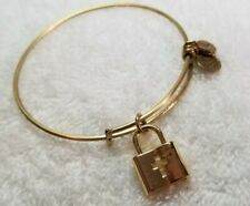ALEX AND ANI - Gold Lock - with Cross Expandable Bangle Charm Bracelet