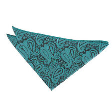 Teal Handkerchief Hanky Floral Paisley Mens Formal Accessories by DQT