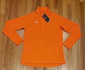 Under Armour Women Microstripe Tech 1/4 Zip Shirt Orange 1276211 800 Size Medium