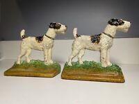 ANTIQUE HUBLEY 294 CAST IRON TERRIER DOG ART STATUE SCULPTURE PAINTING BOOKENDS