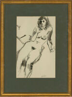 Peter Collins ARCA - 20th Century Pen and Ink Drawing, Reclining Nude Study