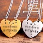Fashion Chic Best Friend Forever 2 Piece Break Heart Pendant Necklace Gift J