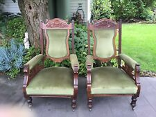 Matching Pair of Gorgeous Antique Edwardian Walnut 'Gents' Arm Chairs!