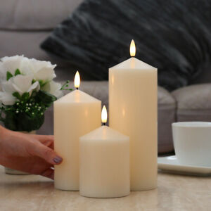 Authentic Flame Battery Wax Flickering LED Pillar Chapel Candle Lights Home