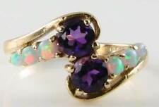 DIVINE 9K 9CT GOLD  AMETHYST & AUS OPAL TWIST CROSSOVER RING FREE RESIZE