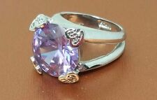 Vintage Silver tone Purple CZ Rhinestone  Band Ring size 7