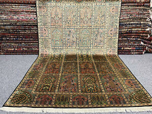 Echter Perser Orient Teppich Kaschmir Felder Natur Seide Handgeknüpft 280 x 178