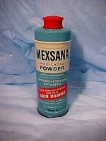 VINTAGE MEXSANA MEDICATED POWDER TIN RARE SMALL TIN 2 1/2 OZ. PACK ADOPTED 1959