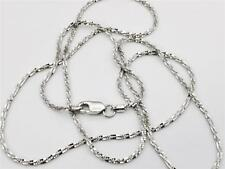 "14K 18"" Inch Solid White Gold Diamond Cut Sparkle Necklace Chain 1.1mm"