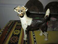 Antique Hubley ? Cast Iron Fox Terrier facing left Statue Doorstop primitive