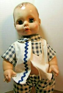 "14"" Eegee Goldberger Softina Baby Doll Vintage molded Hair Blue Eyes Drink Wet"
