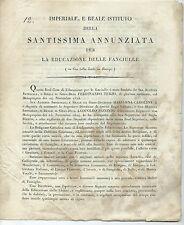 Informazioni Istituto Santissima Annunziata Educazione Fanciulle Firenze 1825