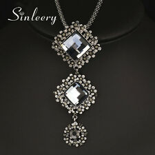 Vintage Gray Glass Square Pendant Necklace Black Long Chain Women Statement 2017