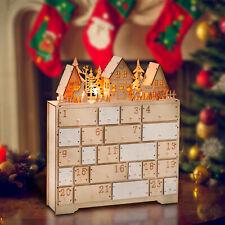 LED Battery Light Wooden Advent Calendar Christmas Xmas Wood Tradtional Calender