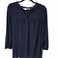 Boden Size 14 Blouse Tunic Top Navy Blue Lace Long Sleeve Shirt Top