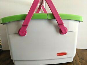 1990s Vintage Rubbermaid Picnic Basket Cooler White ,Green, Hot Pink