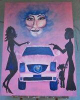 Painting Folk Art Outsider African American Pink Cadillac Mary Kay Allegorical
