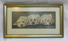 Signed Large Original Pastel Painting of Labrador Puppies - Menzies - 1994