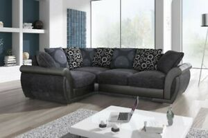 LARGE SHANNON PIONEER RIGHT OR LEFT CORNER SOFA GREY BLACK LEATHER & CHARCOAL
