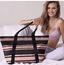 Victoria's Secret Black Rose Gold Stripe Logo Sparkle Tote Bag NEW
