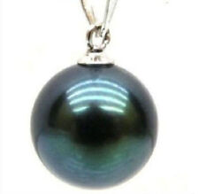 perfect round 15-16 mm Black tahitian Shell pearl pendant 14k white gold
