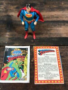 1984 Kenner DC Super Powers Superman w/Original Cape and Comic Action Figure
