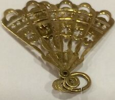 Rare And Unusual Vintage 9ct Gold Hallmarked Moveable Spanish Style Fan Charm