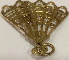 Vintage rara e inusual 9ct oro ley Movible encanto de Ventilador de estilo español