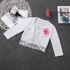 Baby Girls Cardigan Bolero Shrug Long Sleeve Wedding Lace Flower Cardigan Top