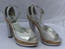 New Look Silver Glitter Platform Sandals with Ankle Strap Size 6/39