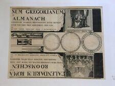 CALENDRIER JEU A DECOUPER 17EME XVII F HARREWYN CALENDAR ANTIC  ALMANACH