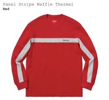 Supreme Panel Stripe Waffle Thermal - Red, Medium, New, Fw18