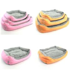 COMFY SOFT CANVAS DOG CAT PET BED WITH FLEECE TOP CUSHION VARIOUS SIZES
