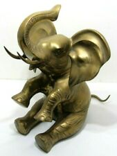 """Vintage Very Large 17"""" Heavy Brass Seated Trunk Up Lucky Elephant 20 lbs Korea"""