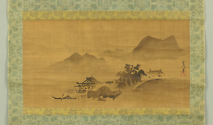 狩野常信 KANO TSUNENOBU Japanese hanging scroll / ONE BOAT & ISOLATED LANDSCAPE I704