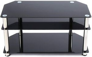 Rfiver Glass Corner TV Stand for 26-46 Flat/Curved Screen TVs Table with Glasses