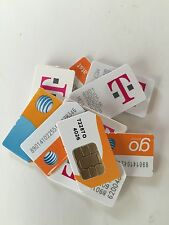 Mixed lot of 10 T-Mobile/At&T Standard Size Cell Phone Sim Card Chips Untested