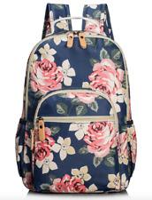 Pink Floral Dark Blue Backpack for Women Girls College Travel School Laptop Bag