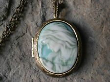 VIRGIN MARY AND BABY JESUS CAMEO LOCKET -HAND PAINTED - RELIGIOUS- ANTIQ BRONZE