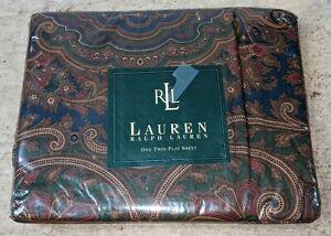Ralph Lauren Brianna Elizabeth Paisley Flat Sheet Twin 200 Thread Count NEW NIP