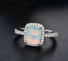 925 Silve Fire Opal White Topaz Natural Gemstone Wedding Ring Gifts Wholesale