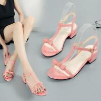 Women T-Strap Open Toe Low Block Heel Sandals Bowknot Buckle Comfy Shoes Fashion