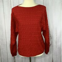 Lauren Ralph Lauren Womens Red Boat Neck Dolman Cable Knit Soft Sweater Small