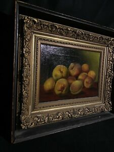 c.1900 Edwardian Oil On Canvas Still Life Painting PEACHES Ornate Frame