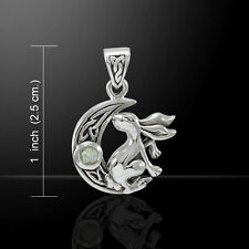 Bunny Rabbit on Crescent Moon .925 Sterling Silver Pendant by Peter Stone