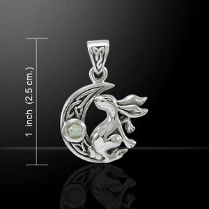 Bunny Rabbit on Crescent Moon .925 Sterling Silver Pendant Peter Stone Jewelry